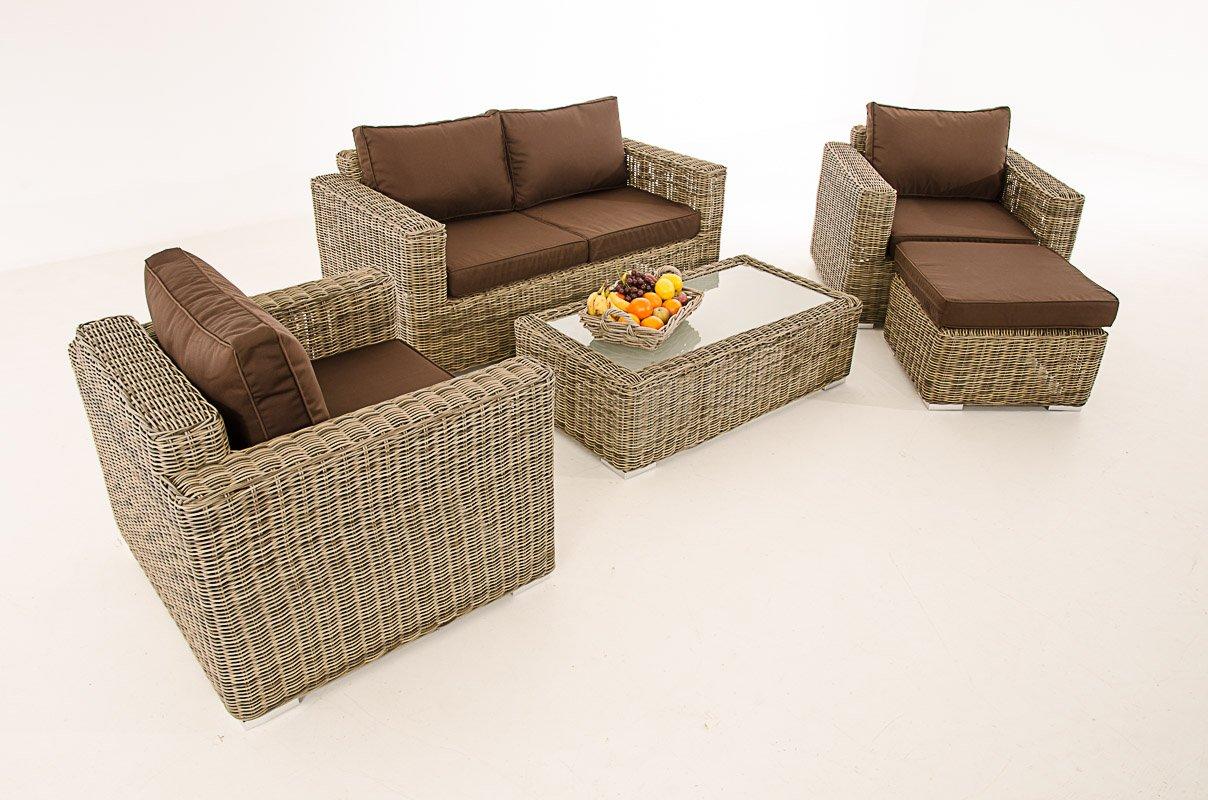 2-1-1 Gartengarnitur CP050 Sitzgruppe Lounge-Garnitur Poly-Rattan ~ Kissen terrabraun, natur