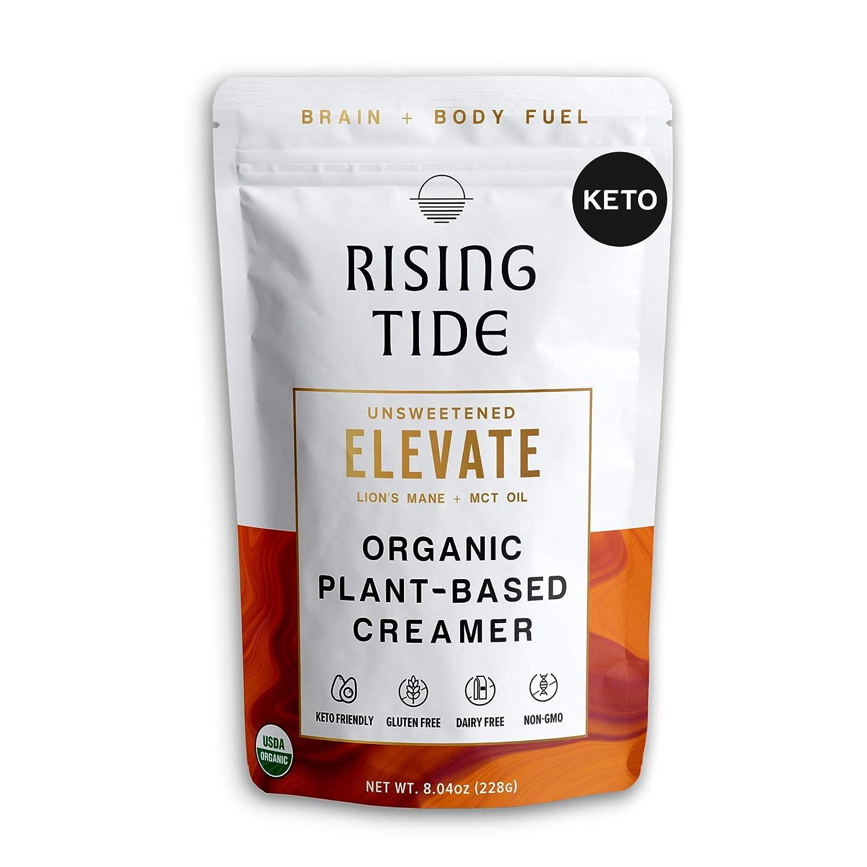 Rising Tide Elevate Keto Coffee Creamer with MCT Oil and Lion's Mane Mushroom, Organic Powdered Creamer, Superfood Creamer, Vegan, Dairy Free, Keto & Paleo Friendly, Unsweetened, 8.04 oz, 38 servings
