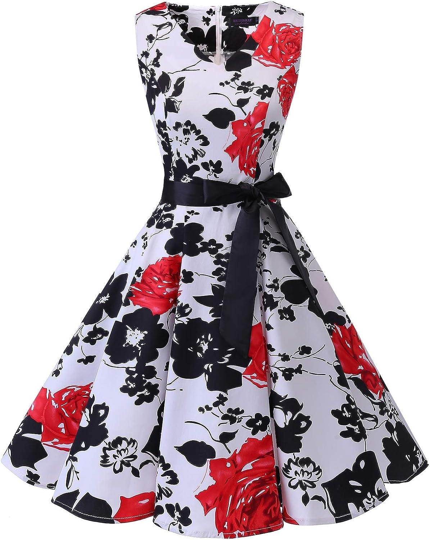 TALLA XXL. Bridesmay Vestido de Cóctel Fiesta Mujer Verano Años 50 Vintage Rockabilly Sin Mangas Pin Up White Red Flower XXL