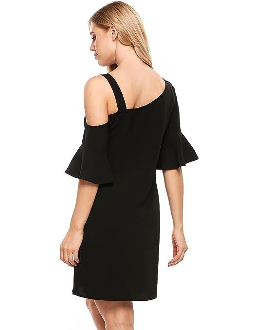 Beyove Womens Casual Chiffon Asymmetric Cold Shoulder Strap Ruffle Sleeve Shift Dress at Amazon Womens Clothing store: