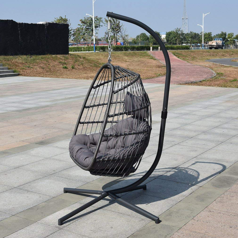Detachable Comfortable Wicker Rib Hanging Egg Chair Indoor Outdoor Nordic Style Patio Swing Hanging Basket Chair Balcony Chair