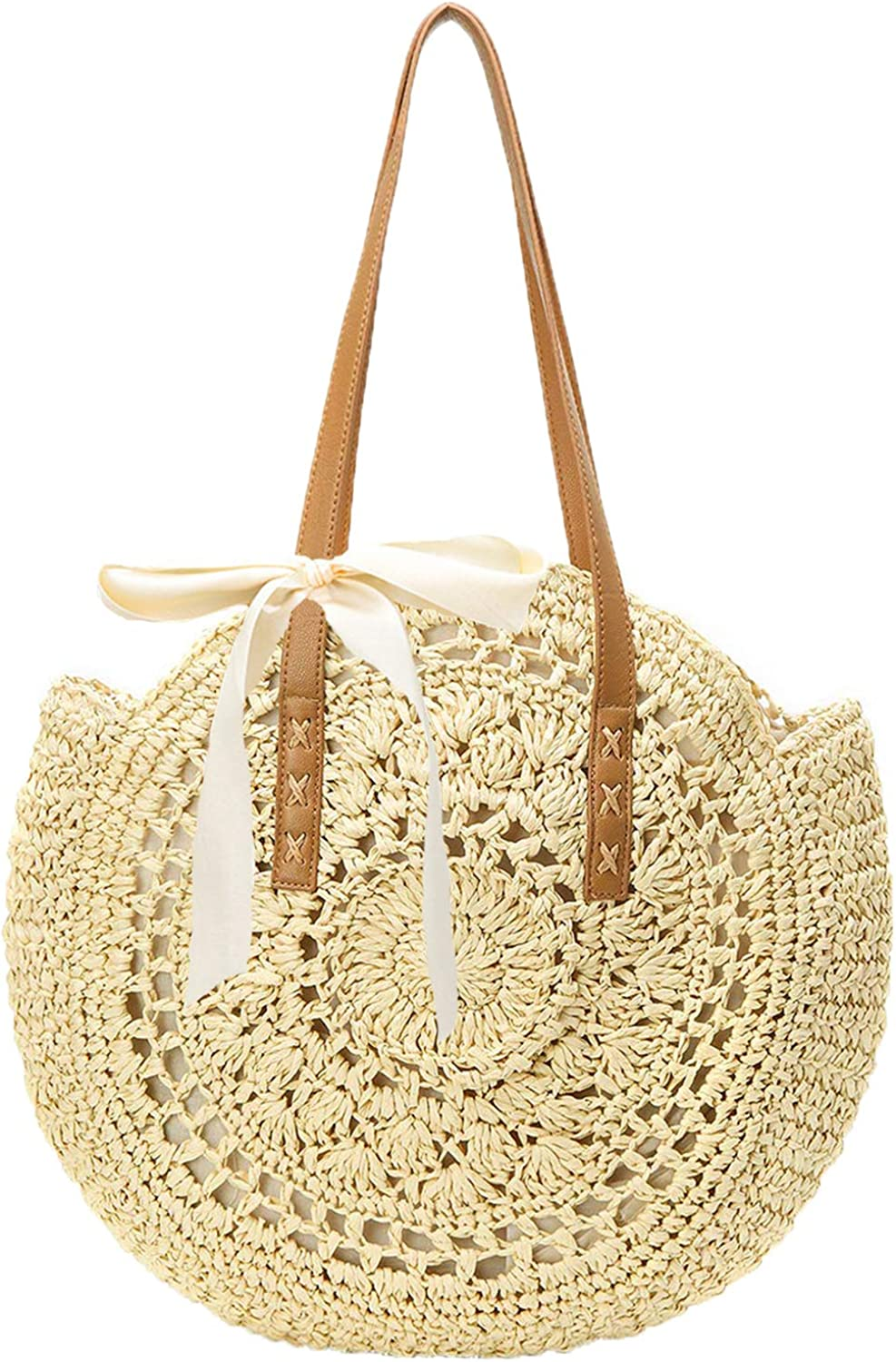 Straw Handbags Women Handwoven Round Corn Straw Bags Natural Chic Hand Large Summer Beach Tote Woven Handle Shoulder Bag