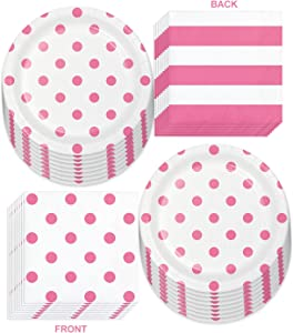 Pink Party Supplies - Polka Dots and Stripes Candy Pink Paper Dessert Plates and Beverage Napkins (Serves 16)