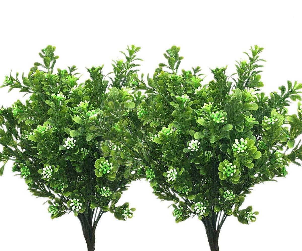 LoveniMen Artificial Shrubs, Plastic Plants Fake Bean Grass Simulation Greenery Bushes Faux Leaves Outdoor Garden Indoor Home Office Yard Verandah Wedding Decor UV Resistant 8 Pcs
