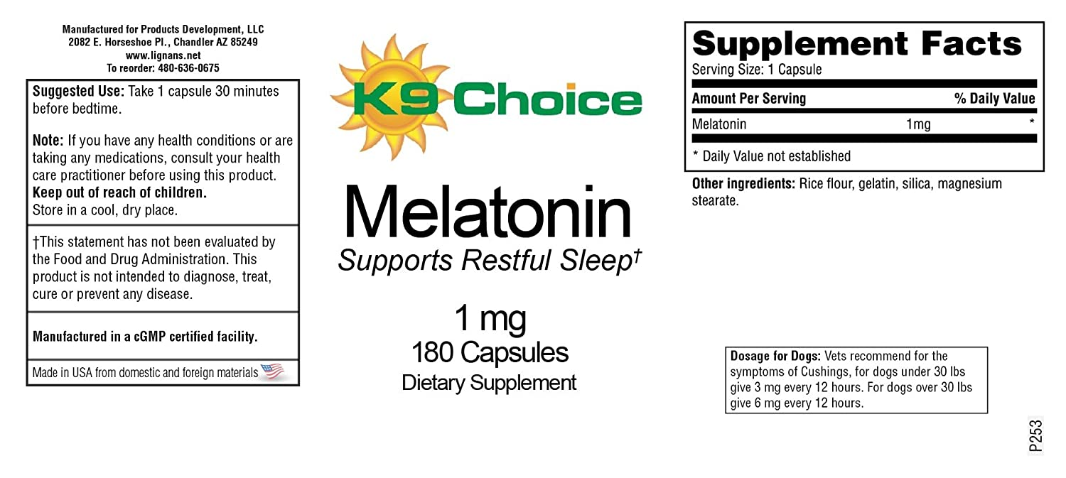 Amazoncom K9 Choice Melatonin 1 Mg 180 Capsules Pet Supplies