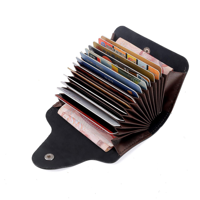 Echt Leder Kreditkartenetui Schwarz Kartenetui Kartenmappe Visitenkartenetui mit 15 Fächer, Kartenetui Scheckkartenetui Kartenmäppchen Kreditkartenmäppchen für Herren und Damen