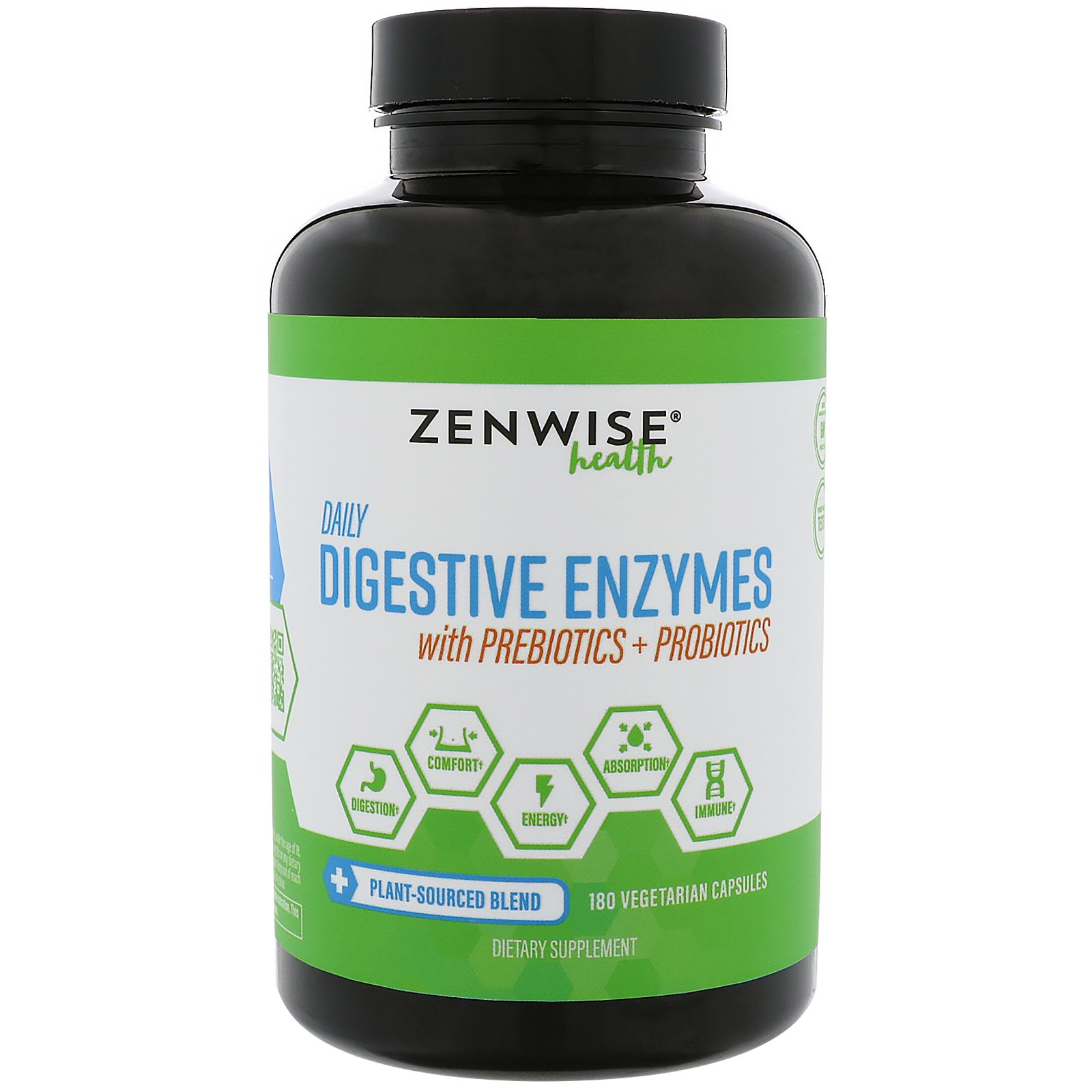 Zenwise Health Daily Digestive Enzymes with Prebiotics Probiotics 180 Vegetarian Capsules