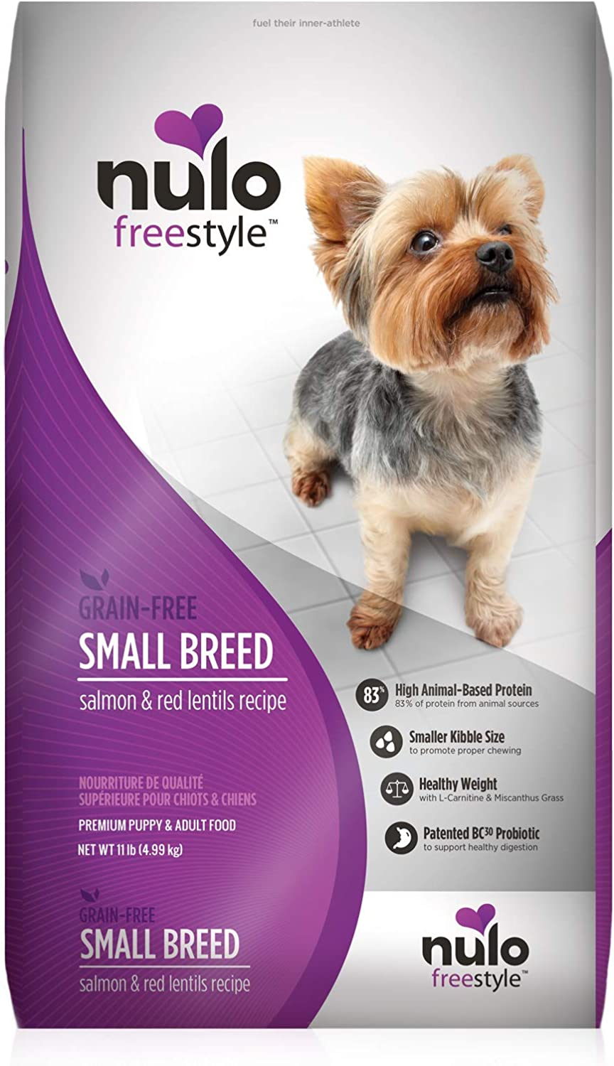 Nulo Grain Free Small Breed Dry Dog Food with BC30 Probiotic (Salmon and Red Lentils Recipe, 4.5lb Bag)