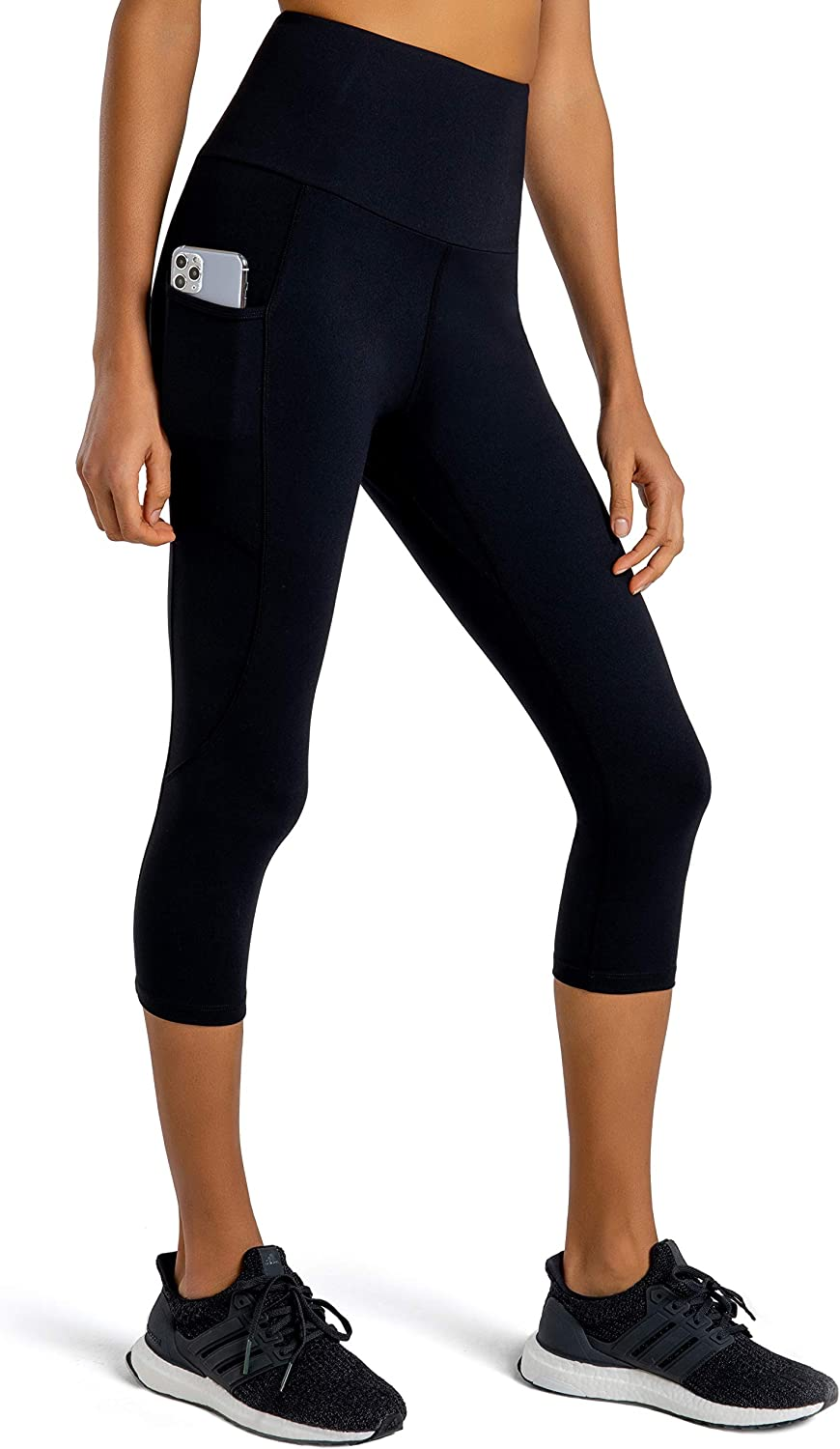 FIRST WAY Cotton Soft High Waist Women's Yoga Leggings Capris with 2 Side Pockets, Tummy Control Workout Pants Gym Tights