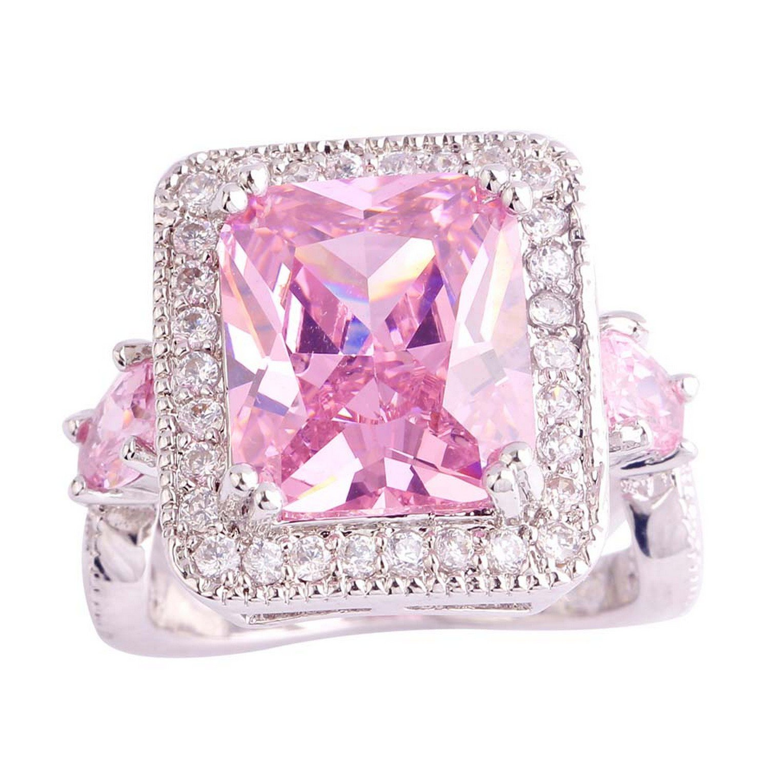 Amazon.com: Delatcha Dreamlike Princess cut Pink CZ Silver Ringsize ...