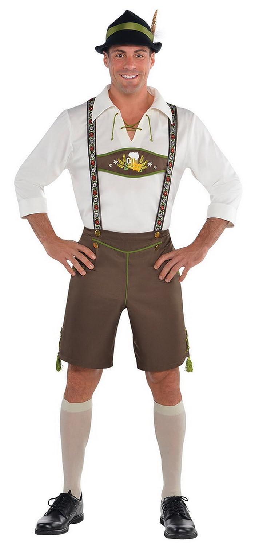 Karnevalsbud - Herren Komplettkostüm Oktoberfest Lederhosen Hemd Strümpfe Hut, 2XL, Mehrfarbig