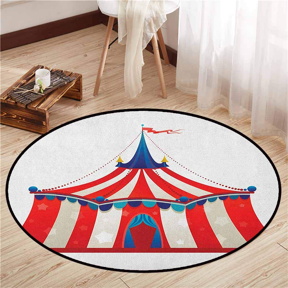 "Living Room Area Round Rugs,Circus,Colorful Striped Circus Marquee Tent Stars Carnival Performance Illustration,Sofa Coffee Table Mat,4'3"" Vermilion Blue"