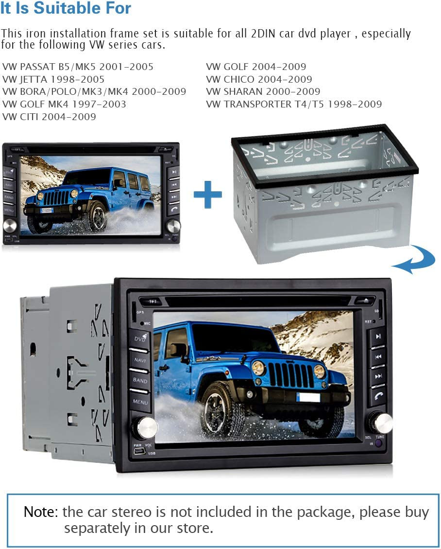 PUMPKIN Universal Double Din Installation Kit Metal Mounting Fitting Cage for 2 DIN Car Stereo Radio
