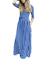 GIKING Women's Casual 3/4 Sleeve Striped Floral...