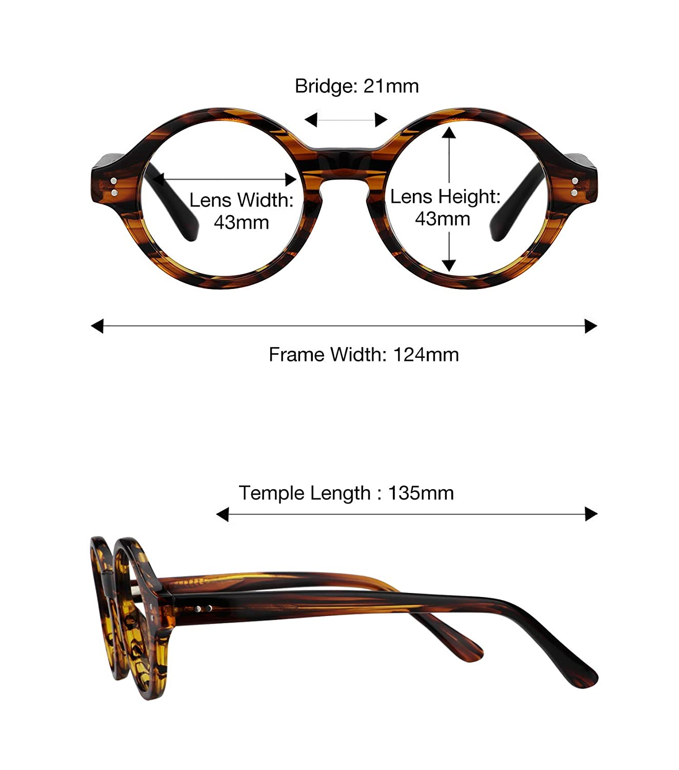 e73ab3b874c Amazon.com  Zeelool Unisex Small Retro Acetate Round Eyeglasses Frame Giggs  FA0249-01  Clothing