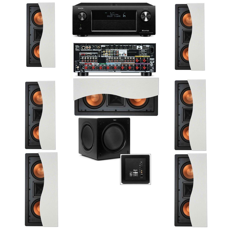 Klipsch R-5502-W II (7)In-Wall Speaker 7.1-SW-310 Denon AVR-X4000
