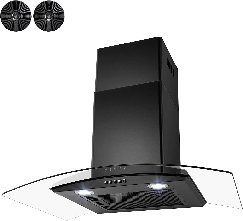 AKDY - Campana de cocina de acero inoxidable con pantalla LED, panel de control táctil y filtros de deflector: Amazon.es: Hogar