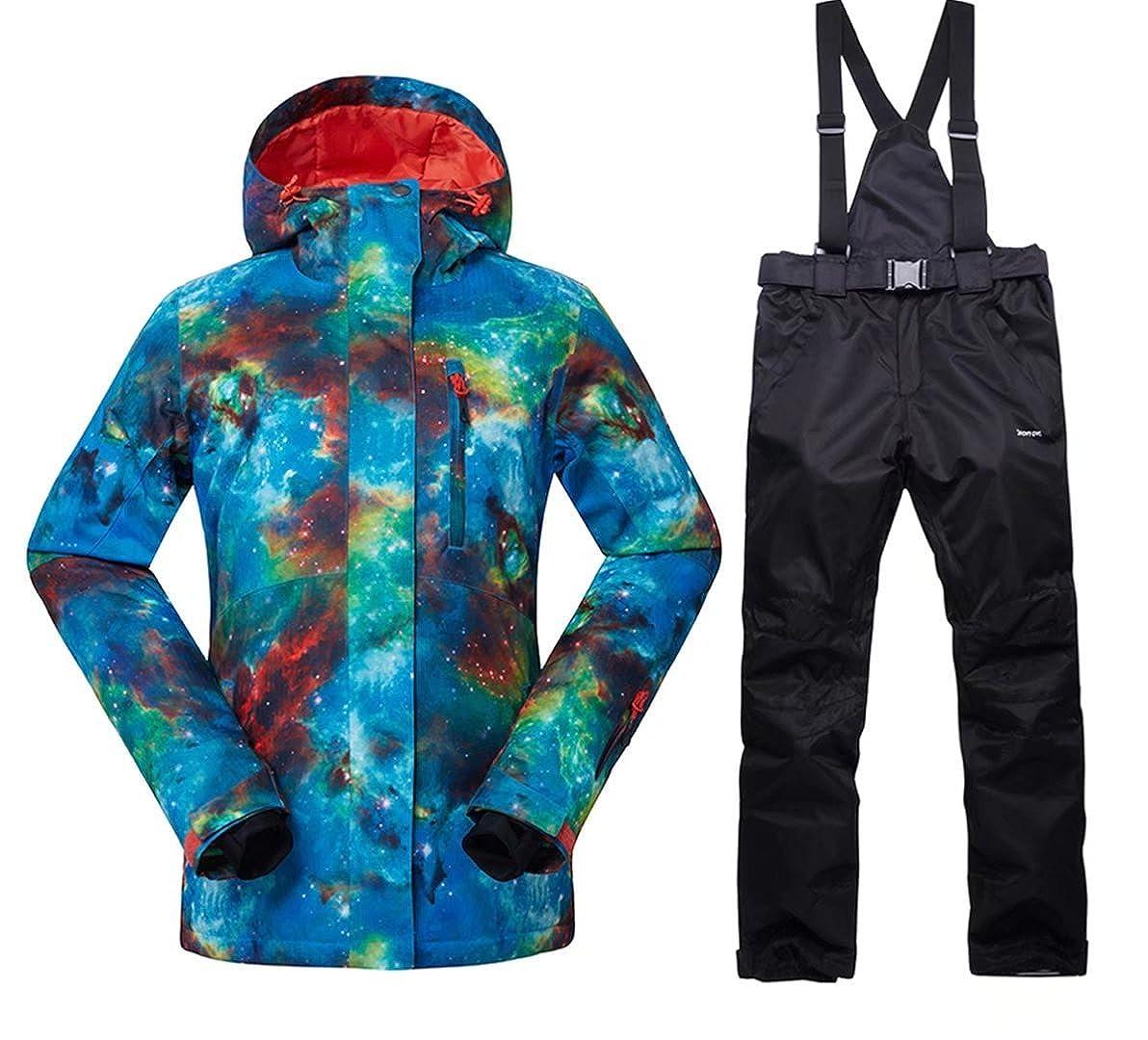 OLEK Women's High Windproof Technology Colorfull Printed Ski Jacket and Pants Wear