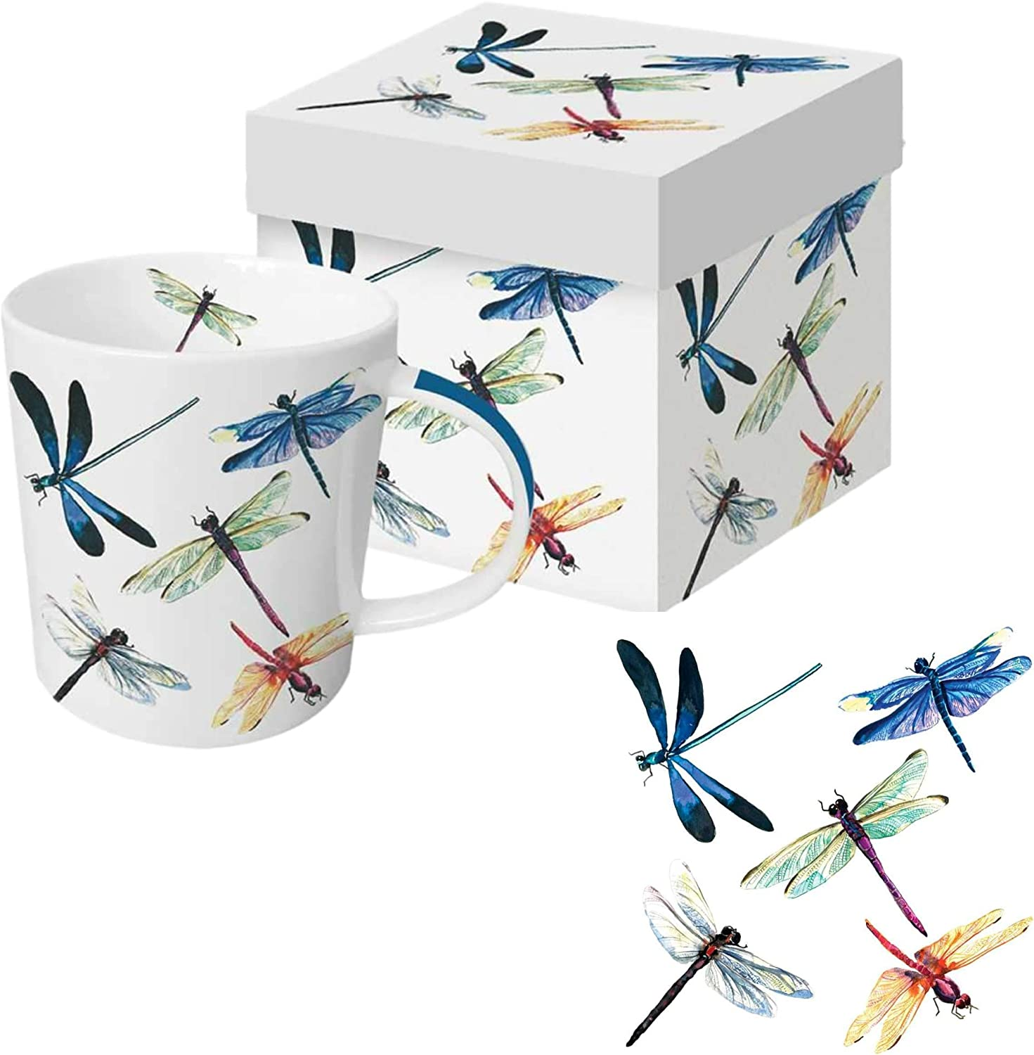 Dragonfly Coffee Mug Gift Set | Bundle Includes 13.5 Ounce Cup in Decorative Box with Matching Paper Beverage Napkins | Libelula Design