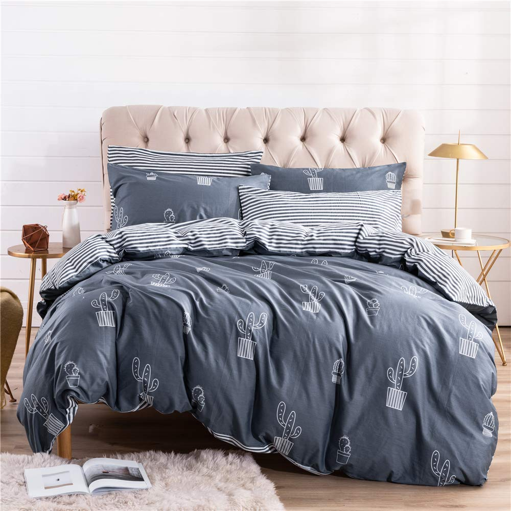 PinkMemory Queen Cactus Duvet Cover Cotton Cactus Bedding Set Gray Blue Reversible Cactus Printing Stripe Design Zipper Closure Corners Ties-Cactus,Queen