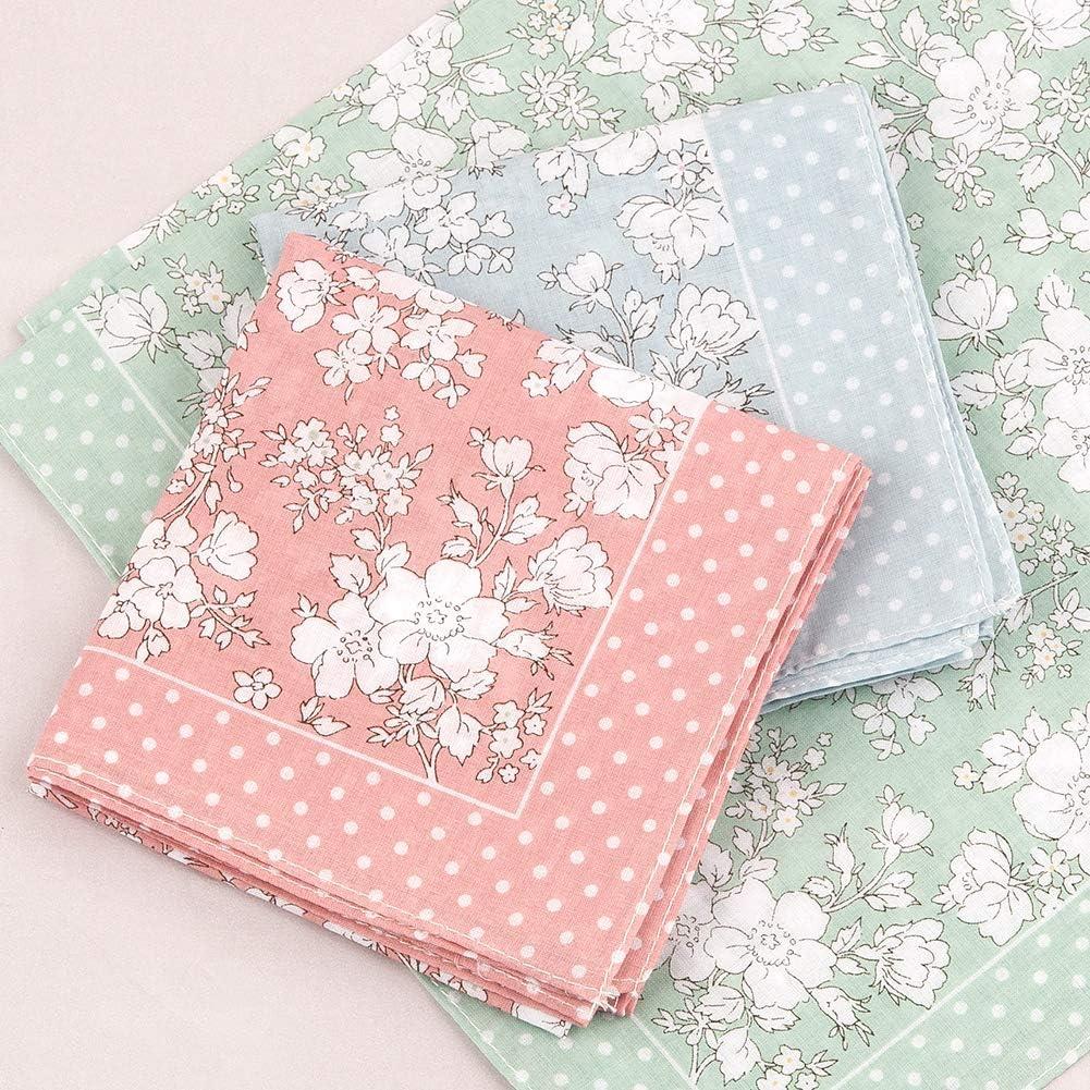 HOULIFE Damen Blumen Taschent/ücher aus reiner Baumwolle 45x45cm 3 Farben f/ür Alltagsgebrauch