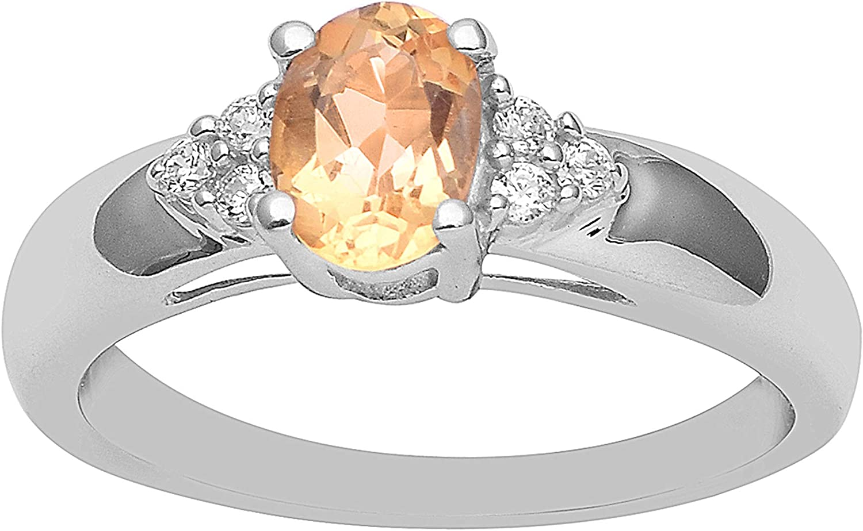 925 Sterling Silver Round Shape Mandarine Citrine /& CZ Engagement Beautiful Ring