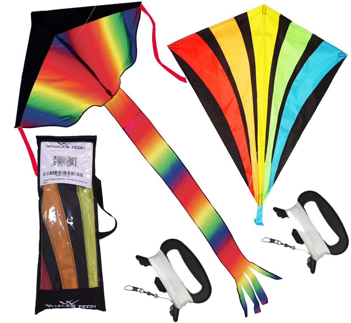 Rainbow Delta and diamond kite (2sets) kite for kids kite for adults easy flying with tail flyer line and handle perfect for outdoor fun beach toys and park sports comes with carrying bag