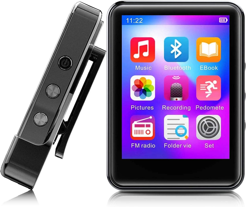 Reproductor de m/úsica MP3 Reproductor de m/úsica port/átil MP3 USB con Pantalla LCD Radio FM Grabadora de Voz Tarjeta TF Negro