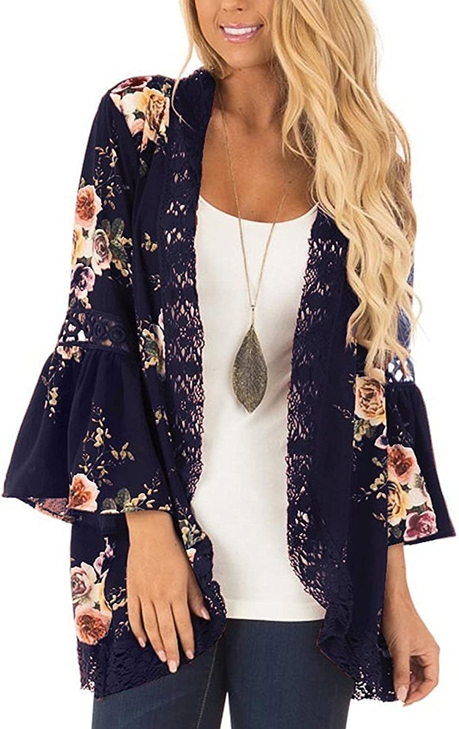 Womens Kimono Cardigans Casual Loose Open Front Cover Up Tops Shrug Beach Shawl