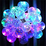 Infispace® Printed LED Balloons with Colour Changing Luminous Flashing Light with Free Ribbon (Pack of 10)