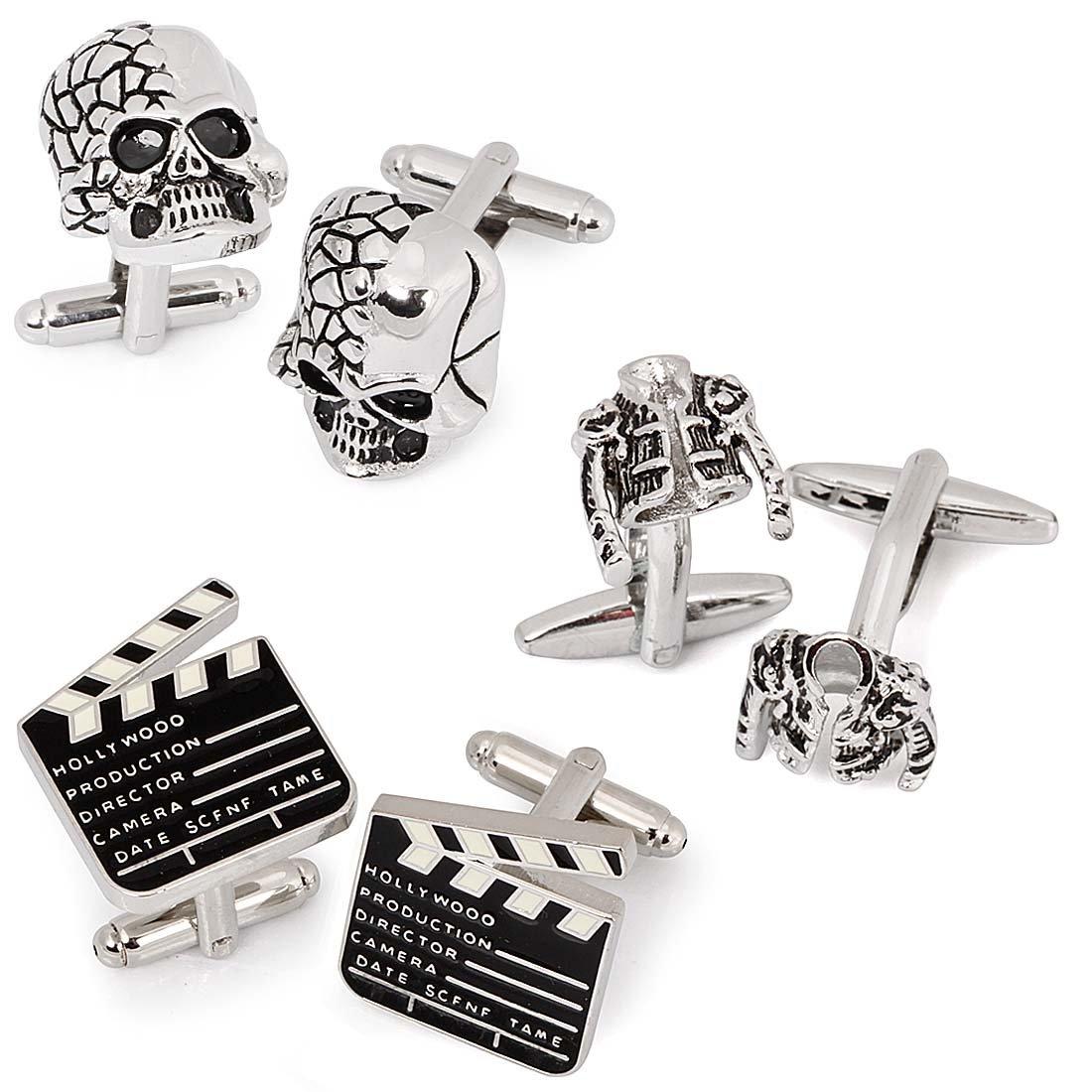 BMC 3 Pair Trendy Silver Colored Mens Cufflinks Set - Pop Star Jackets Skulls Movie Markers by b.m.c (Image #2)