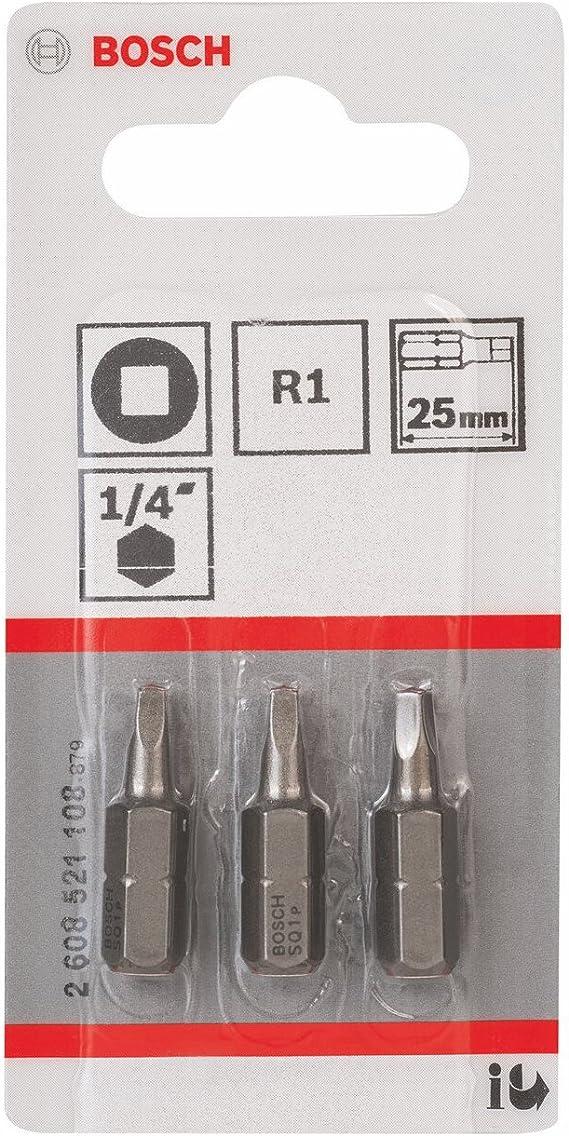 3 Pi/èces Jeu de Embouts de Vissage Qualit/é Extra-dure pour Vis /à Carr/é Creux 25mm Longueur R2 Epaisseur