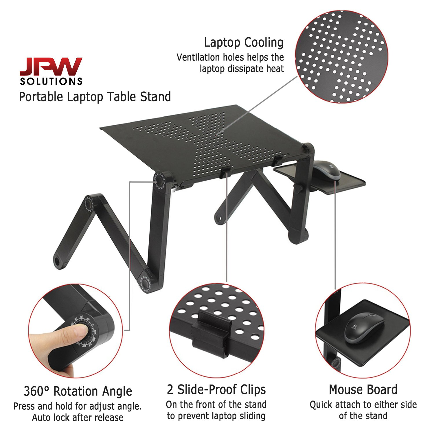 Amazon.com : JPW Solutions Portable Laptop Table Stand With Mouse Pad Fully  Adjustable And Ergonomic Ultrabook MacBook Folding 360 Aluminum Black  Holder For ...