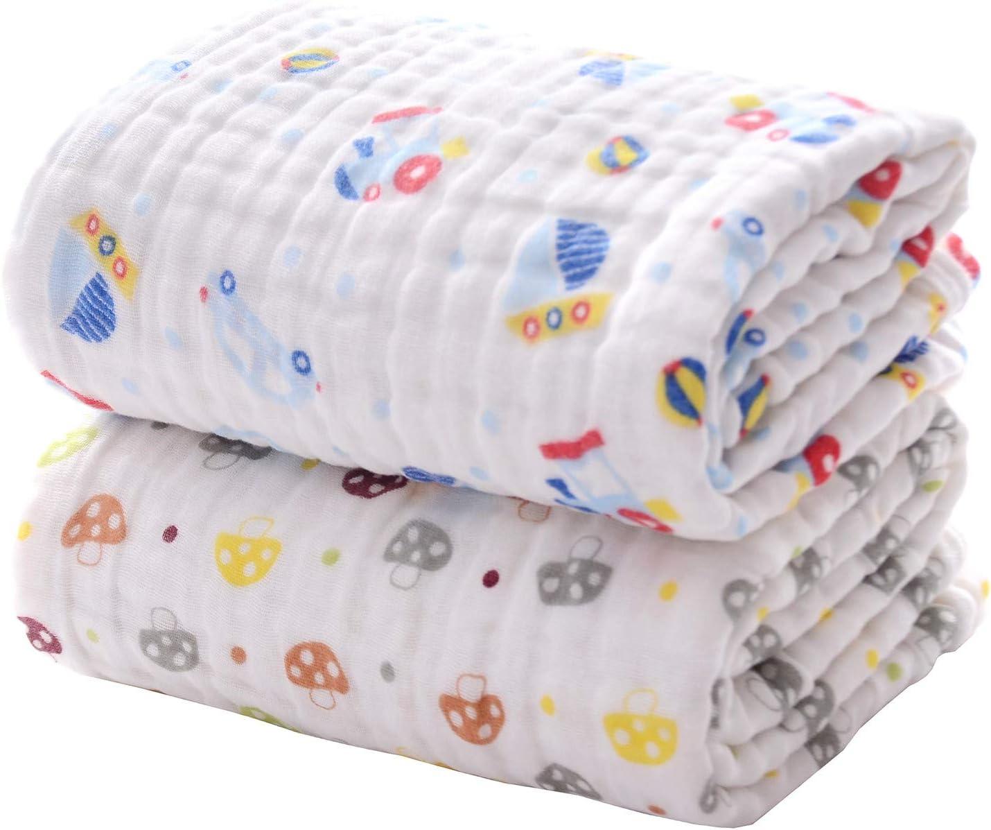 Wanshchan Lot de 2 serviettes de bain en mousseline de coton ultra douces et super absorbantes pour nouveau-n/é ou tout-petits.