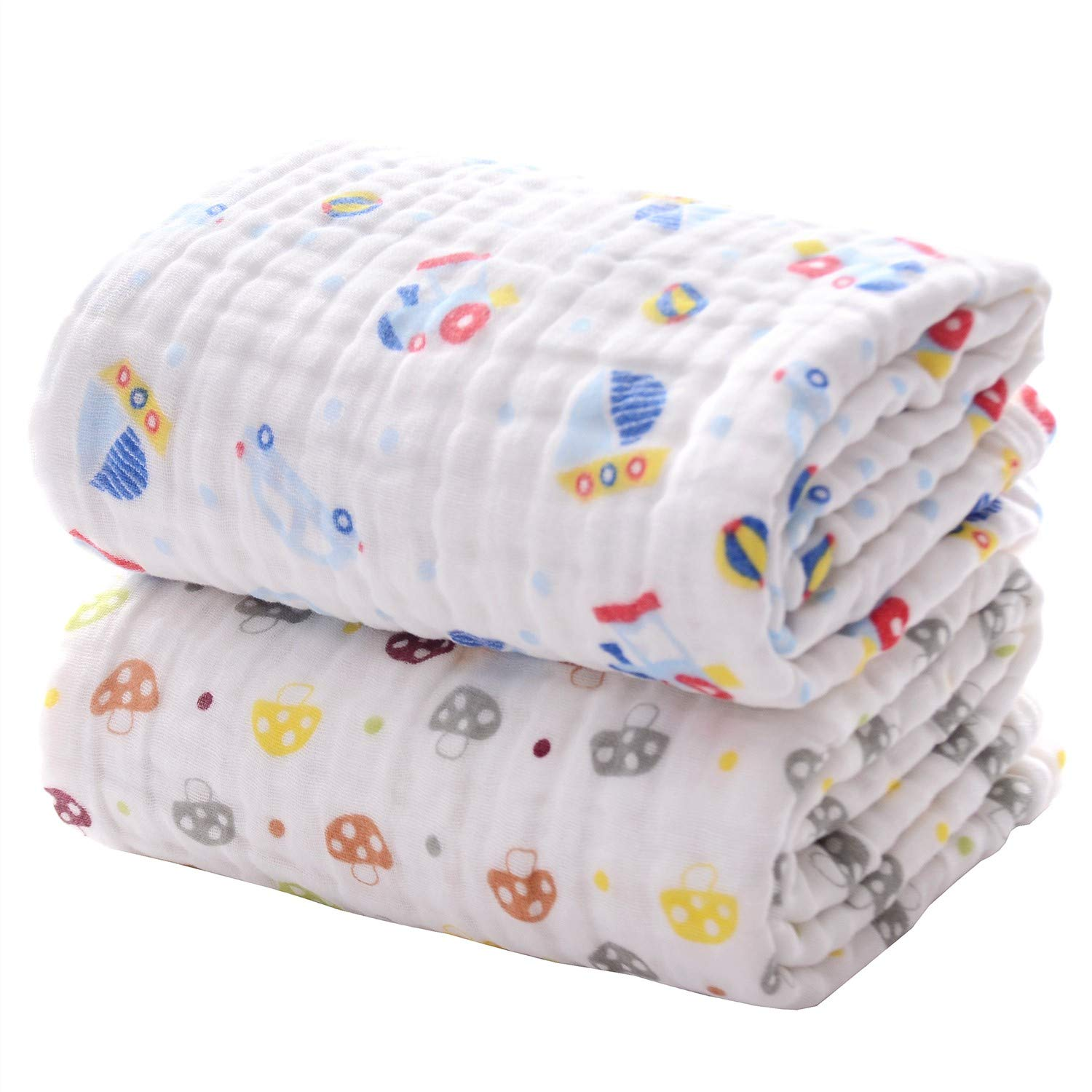 Multifunction Blankets Shower Towel for Newborn or Toddlers Set of 2 Baby Bath Towels Ultra Soft Super Absorbent Large Towels Wanshchan 6 Layer Gauze 41.5 x 41.5 Muslin Cotton Bath Towels