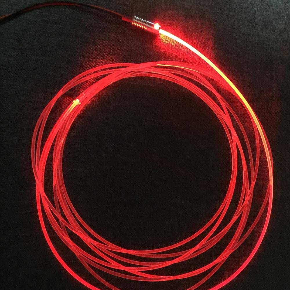 3mm 5meters/16ft PMMA Optic Fiber Cable Side Glow With 12V 1.5W LED Aluminum Illuminator Light Source For Home Car DIY (Red)