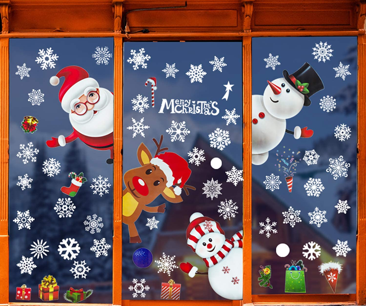 4 Large Sheets Christmas Window Clings Christmas Decorations Snowfake Santa Snowman Reindeer Static Decals Wall Stickers for Home Office Christmas Decor