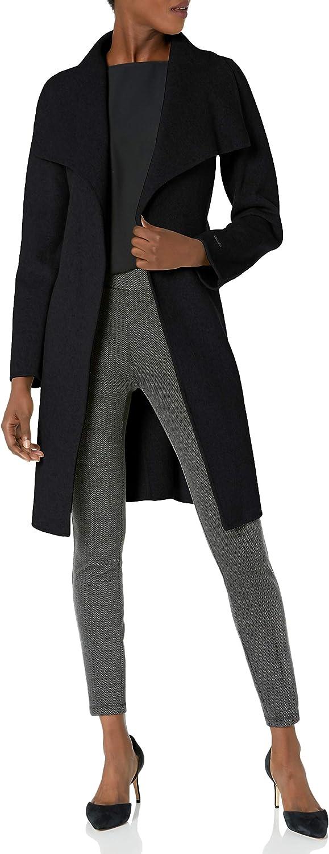 T Tahari Women's Double Face Wool Wrap Coat with Optional Self Tie Belt