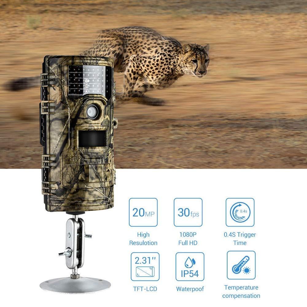 WYGC Camera Cámara De Caza Impermeable 20MP 1080P 30 Fps 65 Pies De Largo Alcance 42pcs IR Leds 0.4s Tiempo De Activación Captura De Fotos Ocultas De Vida ...