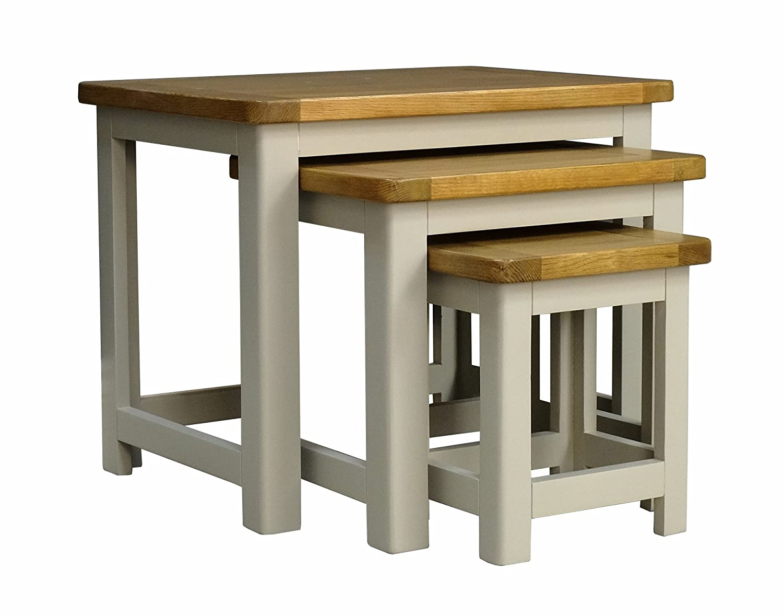 Aspen Painted Oak Sage Grey Nest Of Tables / 3 Nesting End Tables ASPEN GREY