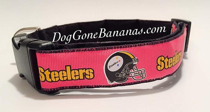 Amazon.com  Hot Pink Pittsburgh Steelers Dog Collar with Charm Option   Handmade 2f340eb1d