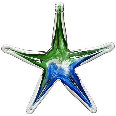Kitras 6-Inch Starfish Glass Ornament, Blue/Green : Suncatchers : Garden & Outdoor