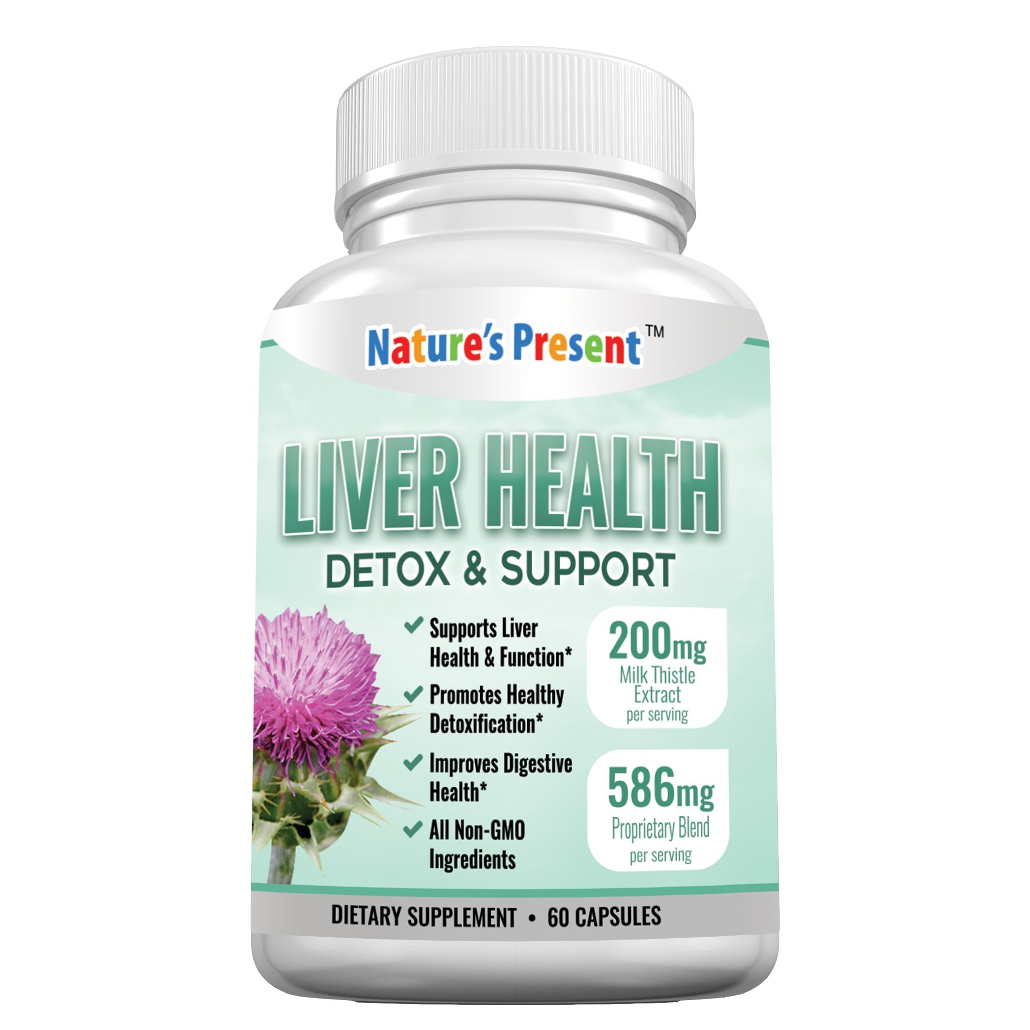 Liver Detoxifier and Support with Milk Thistle- Advanced Formula with 22 Herbal-Based Ingredients, GMP certificated, Non-GMO-60 Capsules
