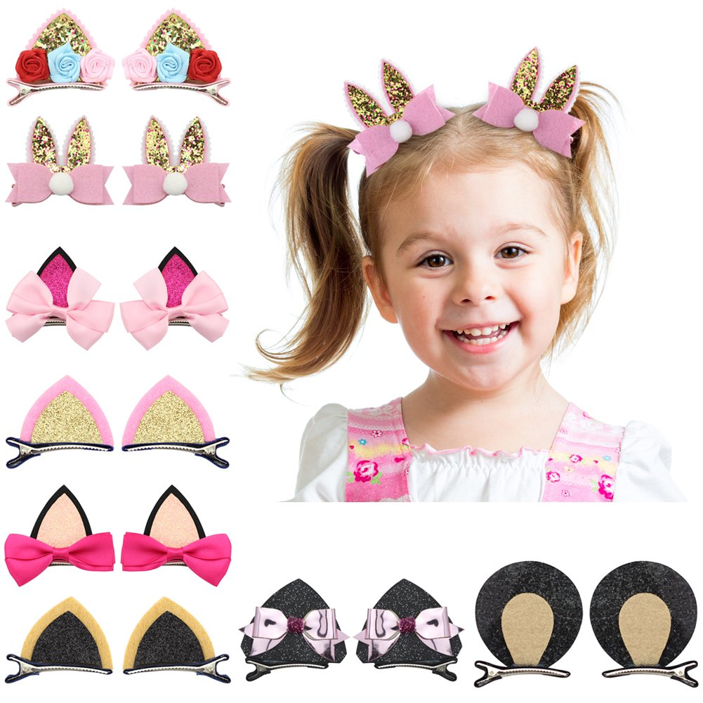 Nancyus005 Cat Ear Hair Bow Clips Barrettes Rabbit Bunny Hairpins for Baby Girls, 16pcs