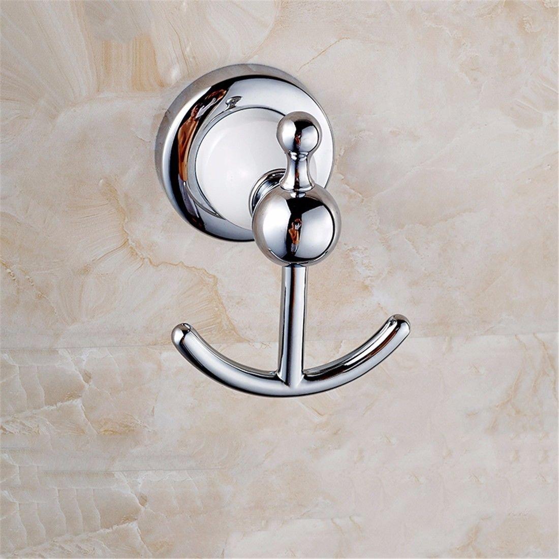 AiRobin-Continental Brass Baked White Paint Chrome Robe Hook Bathroom Accessory