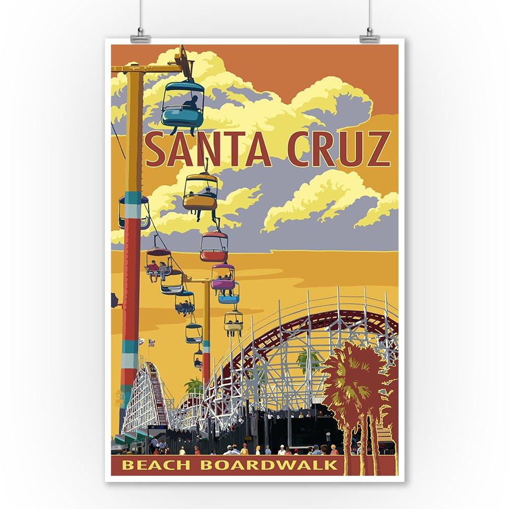 Amazon.com: Santa Cruz, California - Beach Boardwalk (9x12 Art Print ...