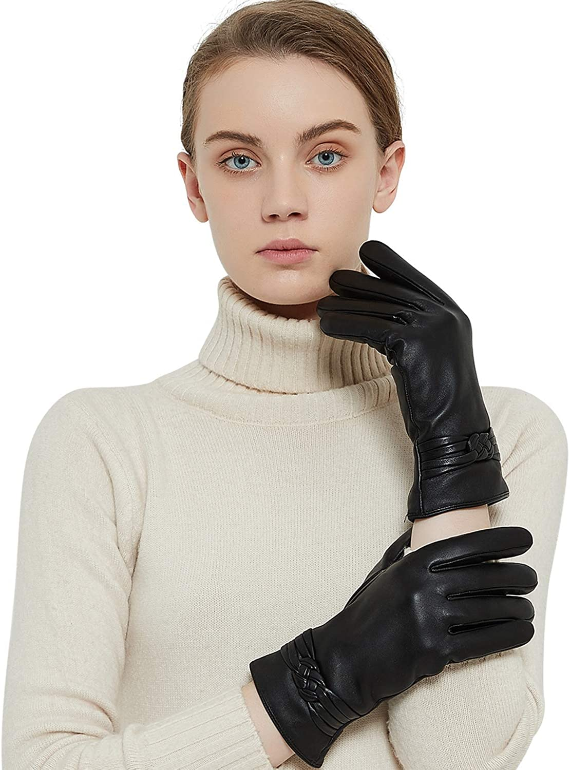 Genuine Sheepskin Leather Gloves For Women, Winter Warm Cashmere Lining Touchscreen Texting Driving Motorcycle Dress Gloves at  Women's Clothing store