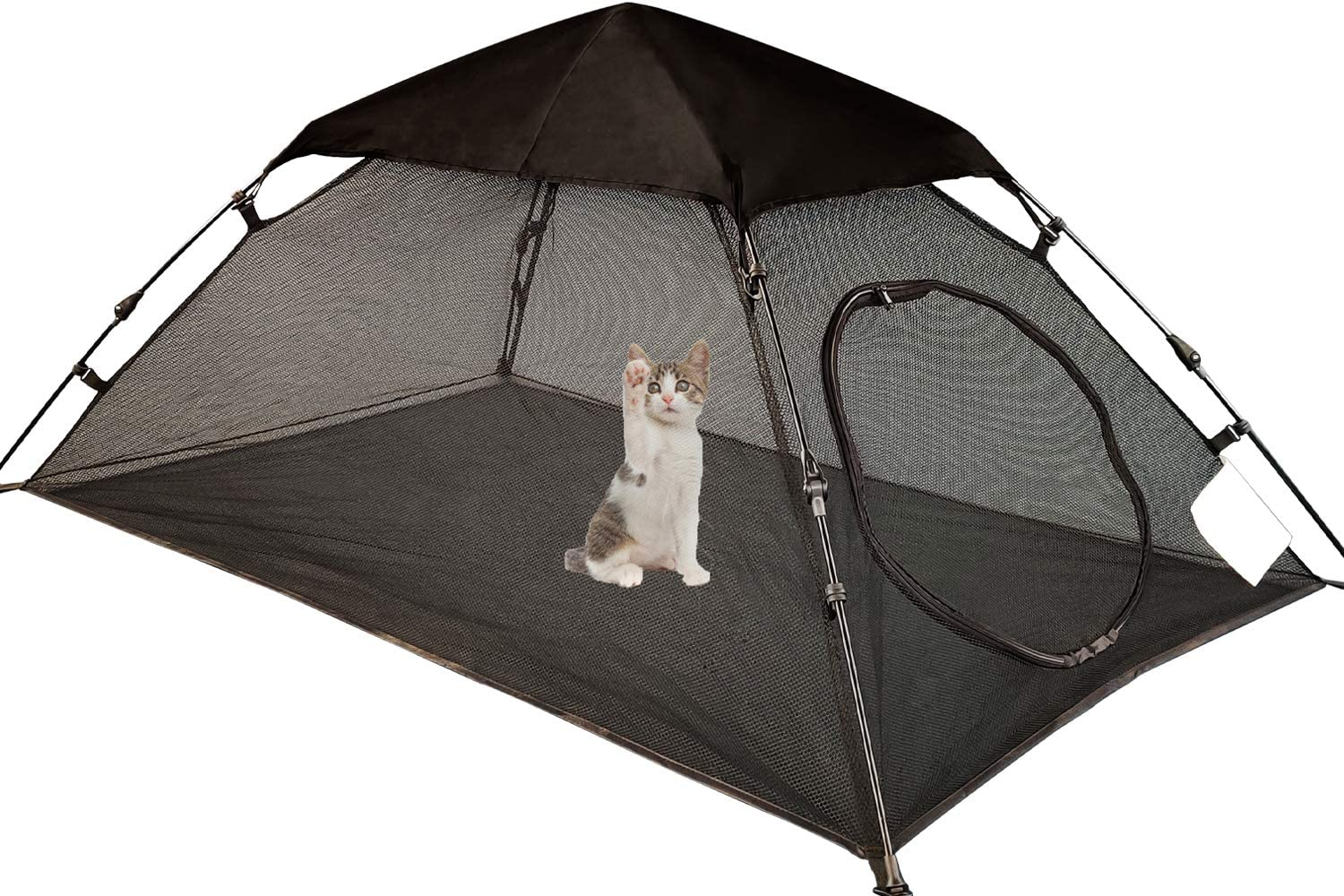 OUTING MAN Mini Cat Tent Outdoor Playpen Pop Up Pet Cat Enclosures Portable Sunshade and Anti-UV Cat Playhouse for SUV Pickup Truck (Play Tents for Cats and Small Animals) - Outside Habitat