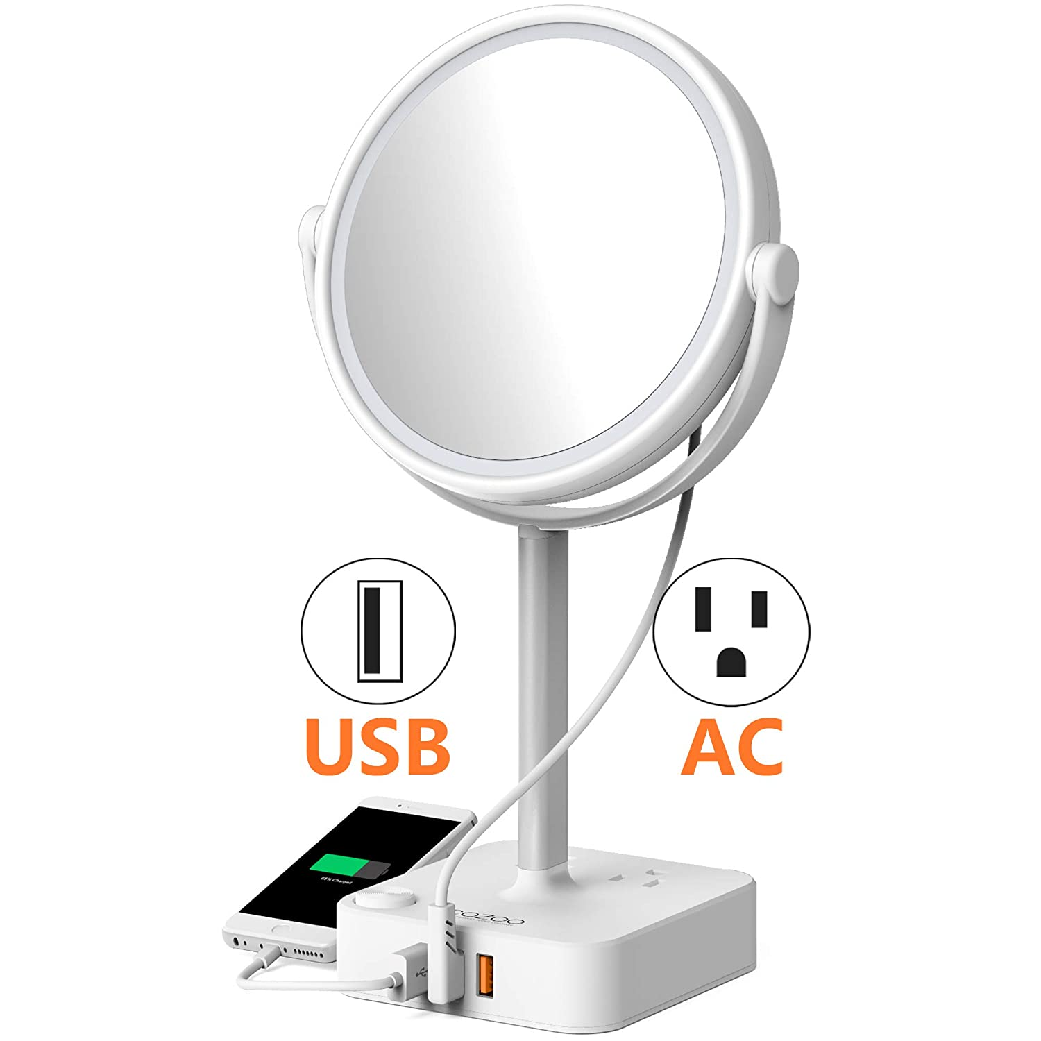 COZOO Lighted Makeup Mirror with LED Light and 3 Ports USB Charger / 2 Outlet Power Strip,5 Inch Round Diameter Daylight Natural White Light Mirror,AC Power Or Battery Operated,Cord or Cordless