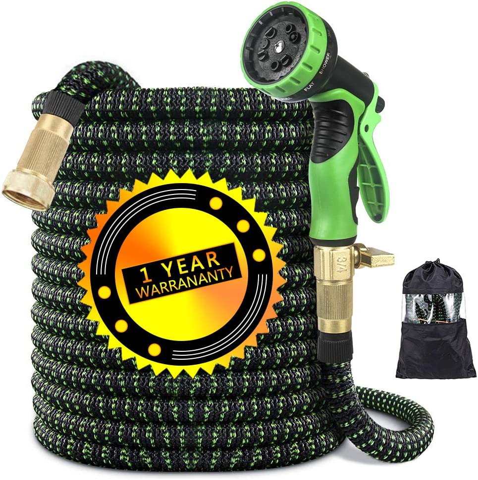 "50ft Garden Hose, Expandable Water Hose with 3/4"" Solid Brass Fittings,3750D Extra Strength Expandable Fabric Pipe - Kink Free Triple Latex Core with 10 Way Water Spray Nozzle fit for Heavy Duty Work"